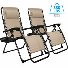 Set of 2 Zero Gravity Recline Chairs Folding Patio Garden Beach Deck Lounge Tray