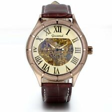Classic Men's Gold Dial Skeleton Brown Leather Mechanical Sport Army Wrist Watch