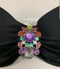 Victoria Secret Swim Suit Bikini Top 32C  Black With Multi Color Jewels