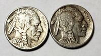 1927-S Buffalo Indian Head Nickel VF Lot of 2