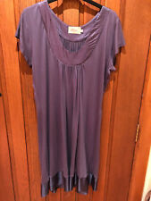BELLAJU Coco 100% Silk Plum Short Sleeve Tunic Dress With Satin Detail Large NEW
