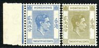 Hong Kong1938 bright-blue 25c pale-yellow 25c multi-script CA mint SG149/150