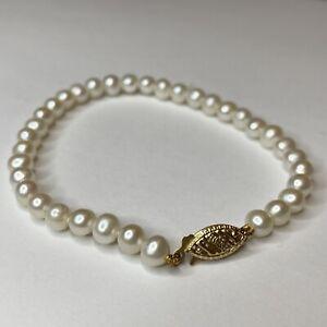 "14K Yellow Gold Ladies White Pearl Bracelet Fish Hook Clasp Size 7"""