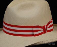 Hat band 42 -Red White - Men Ladies Sun Panama Hat fedora Replacement strap