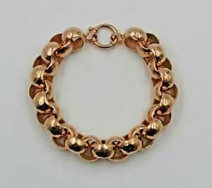 Estate 14K Rose Gold Faceted Chunky Cable Link Bracelet 7 Inches