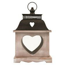 LANTERN CANDLE WOODEN HEART LARGE SHABBY CHIC RUSTIC LAMP XMAS GIFT