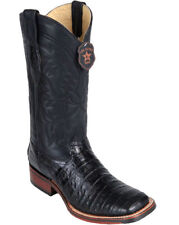 Los Altos BLACK Caiman Crocodile Square Toe TPU Rubber Sole Western Boot EE+
