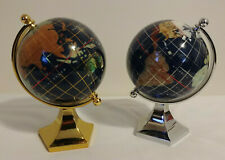 """Gold and Silver Pair of 5.5"""" Decorative Globes Gemstone Map Brass Stand Globe"""