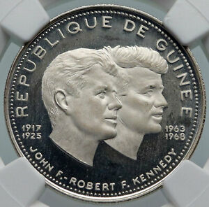 1969 GUINEA w JFK & RFK John F. Kennedy Proof Silver 200 Francs Coin NGC i85994