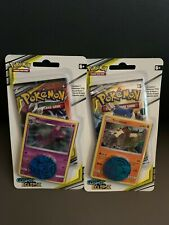 New set of 2 Pokemon Cosmic Eclipse Blister Booster Packs w/ Promo Cards Coins