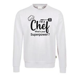Fun Pullover weiß Chef Superpower Grillen Koch Gourmet Essen BBQ Chefkoch