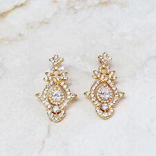 Kenneth Jay Lane's Wedding Day Crystal Goldtone Dangle Earrings QVC $49