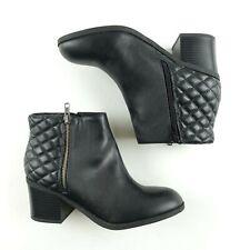 MIA Ankle Boots Sz 8 Women's Side Zip Low Block Heels Booties Black Knoxx GG339