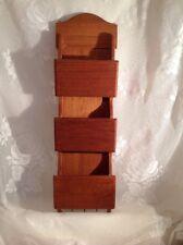 Vintage Teak Wood Letter Bill Mail Storage Organizer Wall Mount Key Holder