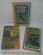 3 Vintage 1940's Pocket Books Beau Geste, Assignment In Brittany & Aviation Quiz