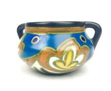 Antique Dutch Gouda Pottery / Vase / Bowl / Art Deco / Blue / Yellow / Brown