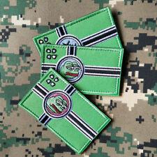 3Pcs Kekistan Flag Embroidered Hook&Loop Patch 4chan Kek Meme pepe the Frog