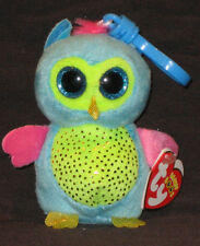 TY BEANIE BOOS - OPAL the OWL  KEY CLIP - JUSTICE EXCLUSIVE -MINT with MINT TAGS