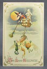 1914 Halloween Postcard Winsch Witch Ghost Hot Air Balloon Attack Vegie People