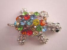 STRASS Damen Brosche Anstecknadel XL Schildkröte Silber Multicolor Kristall
