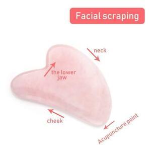 Natural Rose Quartz Stone Face Neck Body Gua Sha Board Massager New