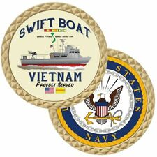 NAVY SWIFT BOAT VIETNAM PROUDLY SERVED RIBBON MILITARY CHALLENGE COIN