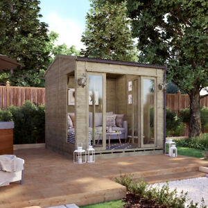 8 x 8 Pressure Treated Cannes Wooden Garden Summerhouse Sunroom With French Door