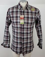 Wrangler Shirt size Small Purple Plaid Men Long Sleeve Button Down Cotton NEW