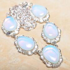"Handmade Rainbow Opalite Jasper Gemstone 925 Sterling Silver Necklace 20"" N01033"