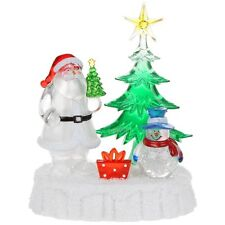 New Xmas Ice Light Up LED Santa Snowman & Christmas Tree Scene Ornament SALE