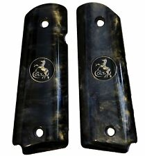 AJAX Grips for 1911 Full Size Govt BLACK Pearlite w/ COLT BLACK NICKEL LOGO COIN