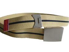 "Paul Smith Canvas Leather Belt Silver Buckle Stripe Adjustable Beige  30 - 36"""