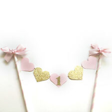 Glitter Gold Girl Birthday Party Cake Decor Pink Heart Topper with Bowknot WC