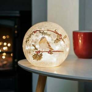 Festive 15cm Christmas Battery Operated Indoor LED Lit Crackle Effect Robin Ball