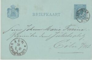 Netherlands-1885 5 c dark blue PS postcard Amsterdam cover to Cologne, Germany
