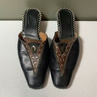 Tsonga Women Leather Mule Slip On Clog Shoes Size 8 39 Blk Brown Heels Leather