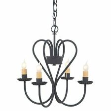 RUSTIC WROUGHT IRON HEART CHANDELIER Primitive Country Ceiling Light Candelabra