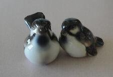 2 Vintage Keramos Porcelain Bird Figurines Wrens / Sparrows Wien Austria