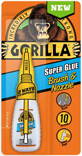Gorilla Super Glue Brush & Nozzle Bottle Fine Bristle Brush and Precision Tip