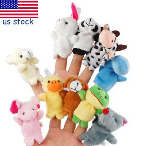 10pcs Animal Finger Puppets Set Soft Cartoon Velvet Dolls Props Toys for Baby