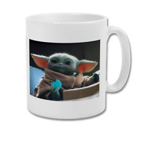 BABY YODA The Child Grogu Eating Blue Macaroon Snacks The Mandalorian Coffee Mug