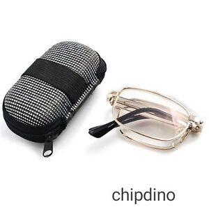 Foldable Folding Reading Glasses  Easy Small Carrying Case For Men Women Unisex