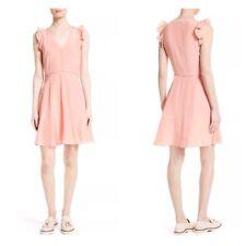 $375 NEW Rebecca Taylor Women's Dress Silk Ruffle Trim Sleeve Peach Pink Size 6