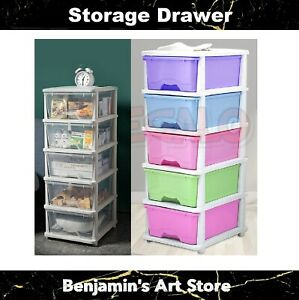 3/4/5 Tier Drawer Storage Organiser Plastic Office Home Box Cabinet Coloured