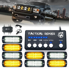 Xprite 8pcs Led Strobe Lights Kit For Grille Side Marker Trucks Trailer Warning