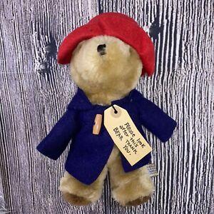 "Eden Toys 1975 Paddington Bear Mailing Tag 11"" Tall Bean Bag Stuffed Animal Red"