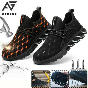 【AtreGo】Mens Work Boots Safety Shoes Steel Toe Cap Sneakers Lightweight Hiking