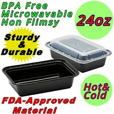 24oz Food Containers Meal Prep BPA FREE Microwavable Reusable Plastic Lunch Box