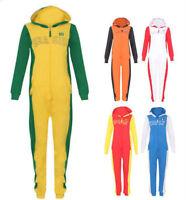 Womens 100% Cotton Ladies All in One Hooded Zip Up Jumpsuit Playsuit 8-16