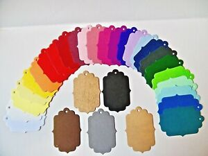 Scallop  Fancy shape gift tags labels 30 colours & assorted 3 Sizes MULTI-BUY